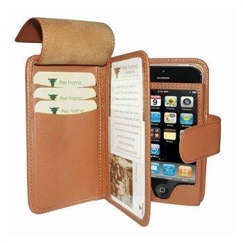 iPhone 5 / 5S / SE Piel Frama Wallet Nahkakotelo Ruskea