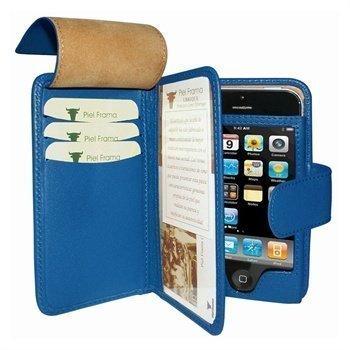 iPhone 5 / 5S / SE Piel Frama Wallet Nahkakotelo Sininen