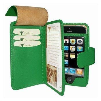 iPhone 5 / 5S / SE Piel Frama Wallet Nahkakotelo Vihreä