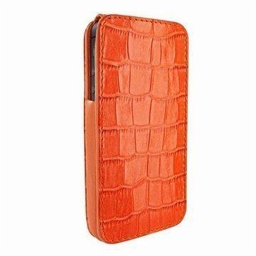 iPhone 5 / 5S / SE Piel Frama iMagnum Nahkakotelo Korokotiili Oranssi