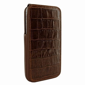 iPhone 5 / 5S / SE Piel Frama iMagnum Nahkakotelo Korokotiili Ruskea