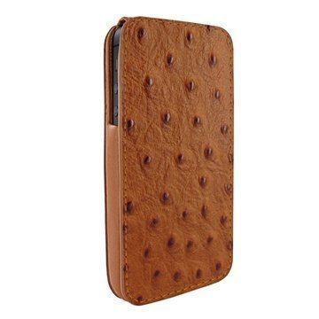 iPhone 5 / 5S / SE Piel Frama iMagnum Nahkakotelo Strutsi Ruskea