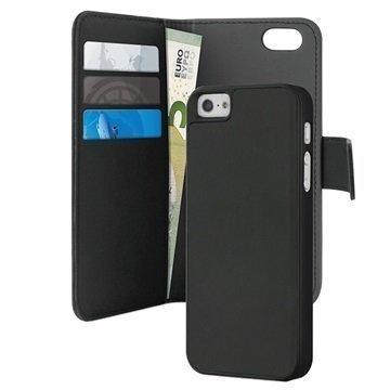 iPhone 5 / 5S / SE Puro Magneettinen Lompakkokotelo Musta
