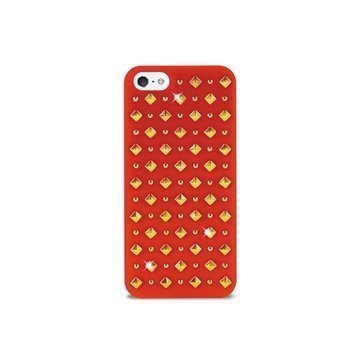 iPhone 5 / 5S / SE Puro Rock Round And Square Studs Kotelo Punainen