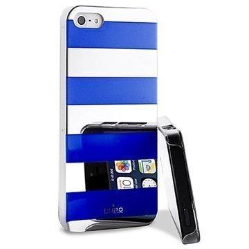 iPhone 5 / 5S / SE Puro Stripe Suojakotelo Hopea / Sininen