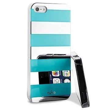 iPhone 5 / 5S / SE Puro Stripe Suojakotelo Hopea / Vaaleansininen