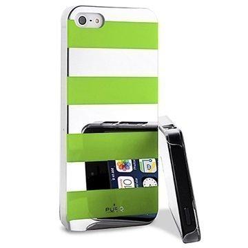 iPhone 5 / 5S / SE Puro Stripe Suojakotelo Hopea / Vihreä