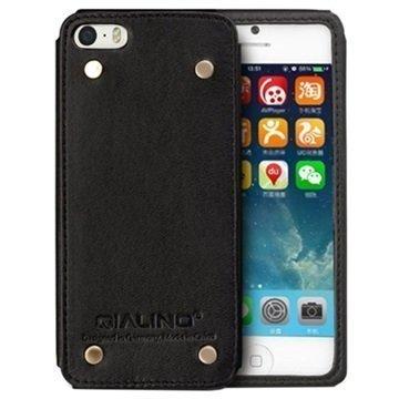iPhone 5 / 5S / SE Qialino Luxury Slim Nahkakotelo Musta