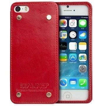 iPhone 5 / 5S / SE Qialino Luxury Slim Nahkakotelo Punainen