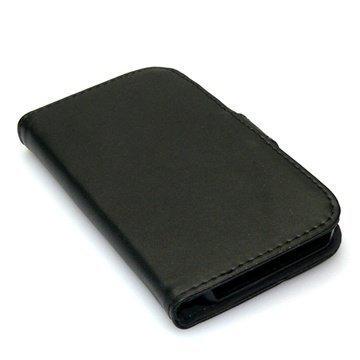 iPhone 5 / 5S / SE Sandberg Flip Lompakkomallinen PU Nahkakotelo Iho Musta