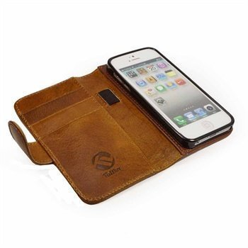 iPhone 5 / 5S / SE Tuff-Luv Magic Grip Leather Wallet Case Brown