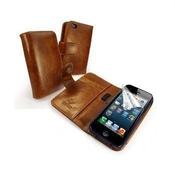 iPhone 5 / 5S / SE Tuff-Luv Vintage Lompakkomallinen Nahkakotelo Ruskea