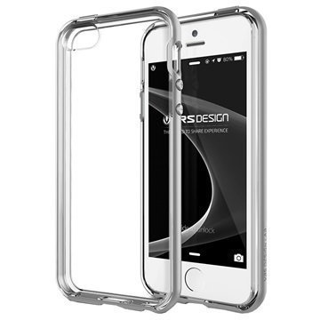 iPhone 5 / 5S / SE VRS Design Crystal Bumper Series Kotelo Vaalea Hopea