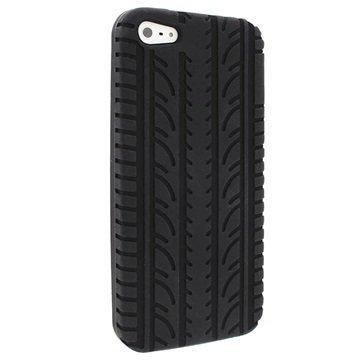 iPhone 5 / 5S / SE iGadgitz Tyre Tread Silikonetui Svart