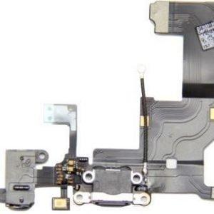 iPhone 5 Latausportti flex-kaapeli + kuulokeliitäntä + mikrofoni Musta