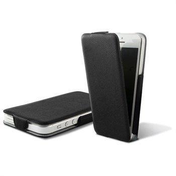 iPhone 5 iPhone 5S iPhone SE Ksix Ultra Slim Flip PU-Nahkakotelo Musta