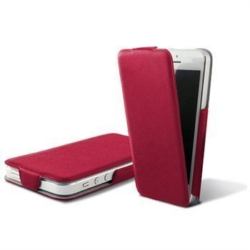 iPhone 5 iPhone 5S iPhone SE Ksix Ultra Slim Flip PU-Nahkakotelo Punainen