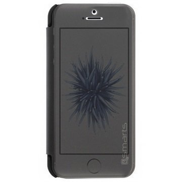 iPhone 5/5S/SE 4smarts Kyoto Flip Kotelo Musta