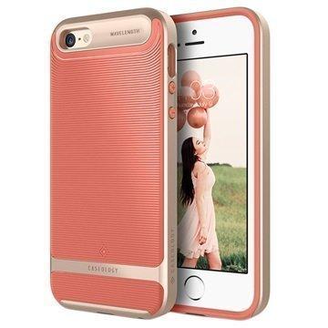 iPhone 5/5S/SE Caseology Wavelength Kotelo Korallinpunainen / Kulta