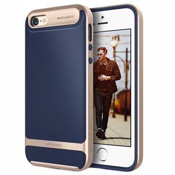 iPhone 5/5S/SE Caseology Wavelength Kotelo Laivastonsininen / Kulta