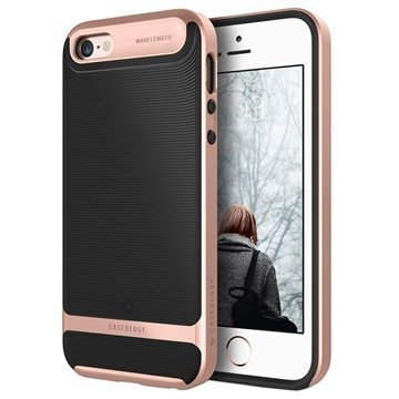 iPhone 5/5S/SE Caseology Wavelength Kotelo Musta / Ruusukulta