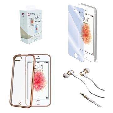 iPhone 5/5S/SE Celly 3 in 1 Suojaussetti Kulta