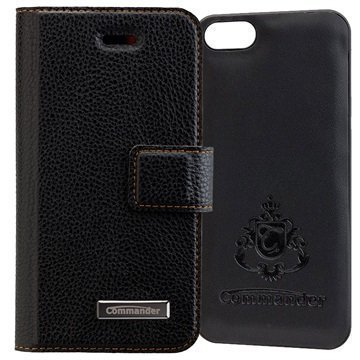iPhone 5/5S/SE Commander Book & Cover Kotelo Musta