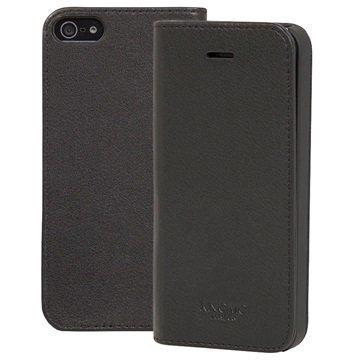 iPhone 5/5S/SE Knomo Folio Nahkakotelo Musta
