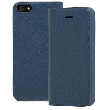 iPhone 5/5S/SE Knomo Folio Nahkakotelo Sininen