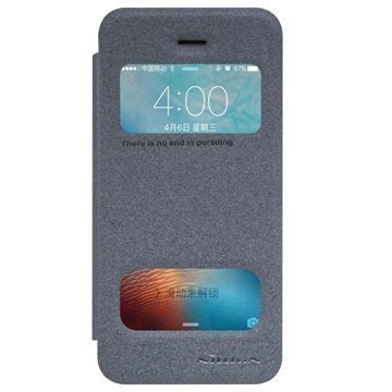 iPhone 5/5S/SE Nillkin Sparkle Kaksoisikkunallinen Läppäkotelo Musta