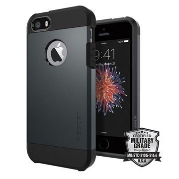 iPhone 5/5S/SE Spigen Tough Armor Kotelo Liuskekivimetalli