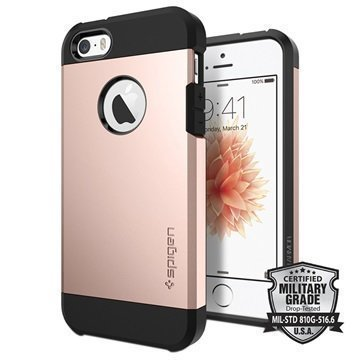 iPhone 5/5S/SE Spigen Tough Armor Kotelo Ruusukulta