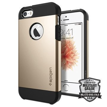 iPhone 5/5S/SE Spigen Tough Armor Kotelo Samppanjakulta