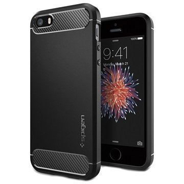 iPhone 5/5S/SE Spigen Ultra Rugged Capsule Suojakuori Musta