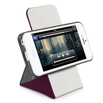 iPhone 5C Macally Shellstand Seisontatukikotelo Burgundy