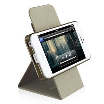 iPhone 5C Macally Shellstand Seisontatukikotelo Ruskea