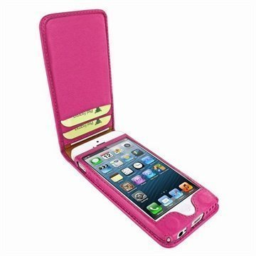 iPhone 5C Piel Frama Classic Magnetic Nahkakotelo Fuksianpunainen