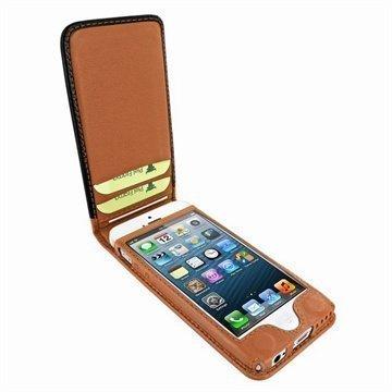 iPhone 5C Piel Frama Classic Magnetic Nahkakotelo Musta / Keltaruskea