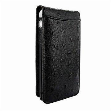 iPhone 5C Piel Frama Classic Magnetic Nahkakotelo Strutsi Musta
