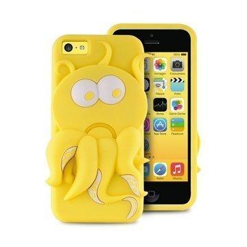 iPhone 5C Puro 3D Mustekala Silikonikotelo Keltainen