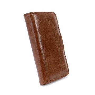 iPhone 5C Tuff-Luv Vintage Lompakkomallinen Nahkakotelo Ruskea