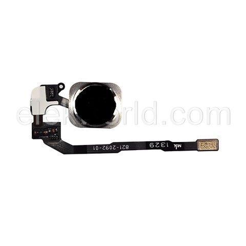 iPhone 5S / 5SE Home-nappi + kaapeli + kumitarra Musta