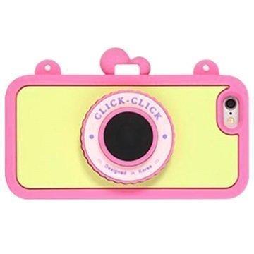 iPhone 6 / 6S 8thdays Click Click Bluetooth Selfie Silikonikotelo Kuuma Pinkki / Keltainen