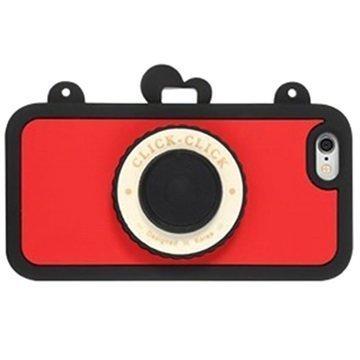 iPhone 6 / 6S 8thdays Click Click Bluetooth Selfie Silikonikotelo Musta / Punainen