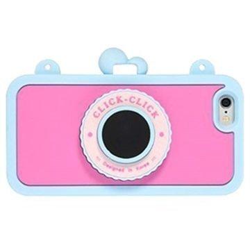 iPhone 6 / 6S 8thdays Click Click Bluetooth Selfie Silikonikotelo Sininen / Kuuma Pinkki