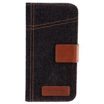 iPhone 6 / 6S Commander Book Elite Jeans Läppäkotelo Farkkukangas Sininen / Ruskea