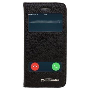 iPhone 6 / 6S Commander Double Window Läpällinen Nahkakotelo Musta