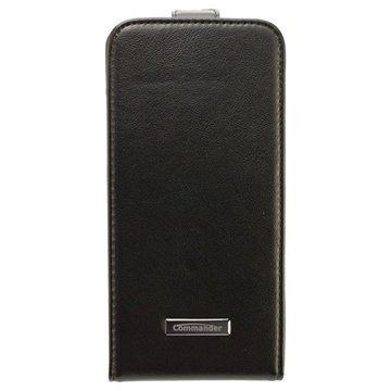 iPhone 6 / 6S Commander Premium DeLuxe Vertical Flip Cross Nahkakotelo Musta