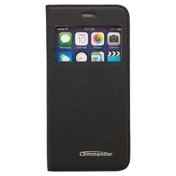 iPhone 6 / 6S Commander Window Cross Avattava Nahkakotelo Musta