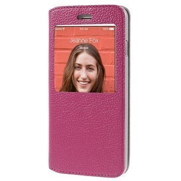 iPhone 6 / 6S Doormoon View Flip Nahkakotelo Kuuma Pinkki